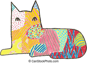 Calico Cat - Vector style crayon design of a sitting cat