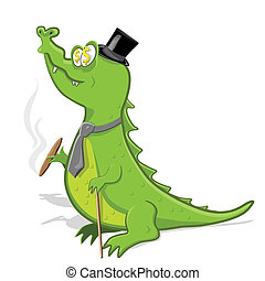 crocodile - illustration, green crocodile with cigar and...