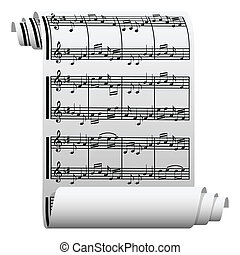 Music written on paper - Illustration of music written on...