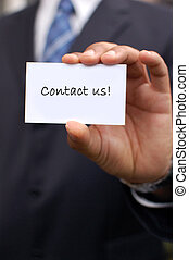 Contact us! - Contact us written a business card