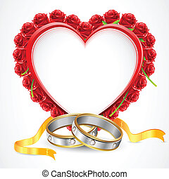 Pair of Rings with Rose Heart - illustration of pair of...