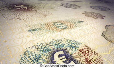 Paper Currency Scrolling Loop - Looping animation of a...