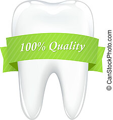 Tooth With Tape - Tooth With Green Ribbon, Isolated On White...
