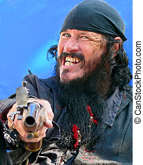 Black-Bearded Pirate with Vintage Pistol - Pirate on...