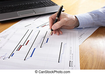 Project Planning - Project Gantt chart with laptop in...