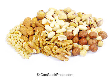 mixed nuts  - Assorted mixed nuts on white background