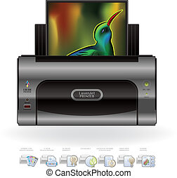 LaserJet Printer Option Icons - Medium Home Color Photo...