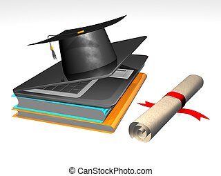graduation - 3D Illustration of a Graduation Cap and Diploma...