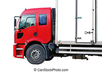 Cargo Truck - Red white truck isolated on a white background