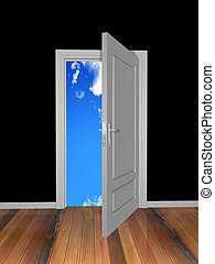 door  - stair to open door. 3d