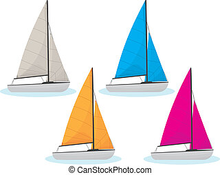 Sailing Boats Collection - Collect of four sailing boats in...