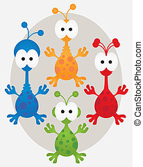 Aliens Collection - Collection of four cute aliens in...