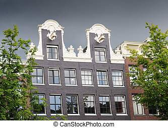 Dutch gable house on a stormy day, Amsterdam