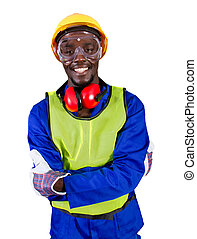 african builder - male african builder with full protective...