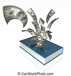 money   - 3d illustration of dollar and book