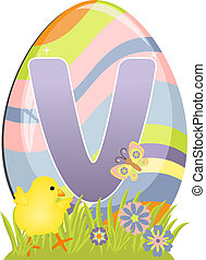 Cute initial letter V for easter design