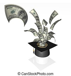 money - 3d illustration of dollar and hat