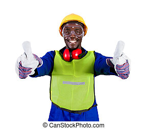 industrial worker giving thumbs up - african industrial...