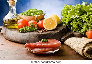 Raw Tuna Steak with Ingredients arround - photo of raw tuna...