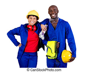 industrial worker - two african american industrial worker...