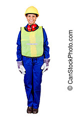 female african construction worker with protective gear