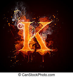 Fire Swirl Letter K Isolated on Black Background. Computer...