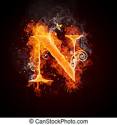 Fire Swirl Letter N Isolated on Black Background. Computer...