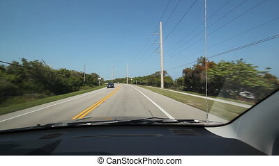 Driving in Florida. Highway corner. - Driving on a highway...