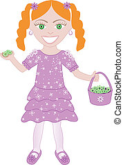 Purple Dress Flower Girl 2 - Vector of cute little girl with...