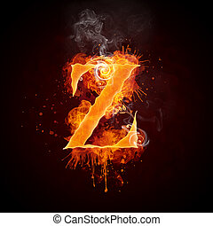 Fire Swirl Letter Z Isolated on Black Background. Computer...