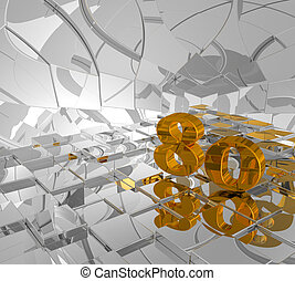 golden eighty - cubes background and golden number eighty -...
