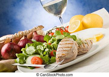 Grilled Tuna Steak with Salad - photo of grilled tuna steak...
