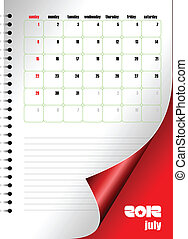 Calendar 2012 with dairy page image. Months. Vector...