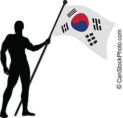 Flag Bearer - Vector illustration of a man holding the flag...
