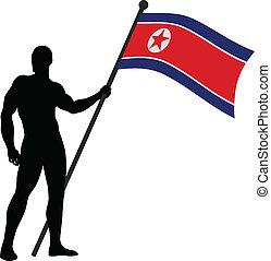 Flag Bearer - Vector illustration of a man holding the flag...