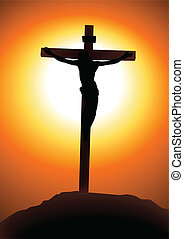 Golgotha - Vector illustration of Jesus Christ on the cross