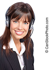 Call Center Operator. - Beautiful business woman with...