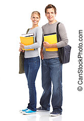 Students - Young smiling students. Isolated over white...