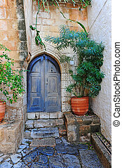 Greek Courtyard - Courtyard of a Typical Greek Houses on the...