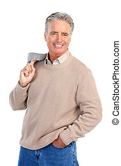 Elderly man - Smiling happy elderly man Isolated over white...