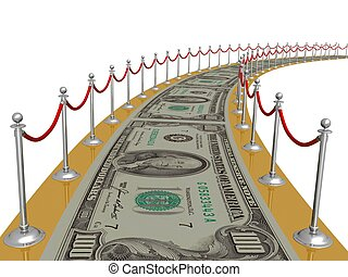 money carpet - 3d illustration of money over white...