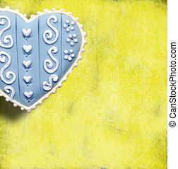 love card - blue heart on a yellow background