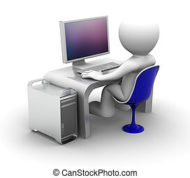 3d character Working on computer On white background
