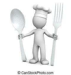 3D, chef cuistot, cuillère, fourchette