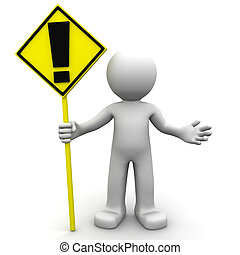 3d character with yellow ALERT sign on white background
