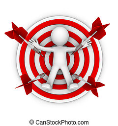 3d character lay down on a big archery target. isolated on...