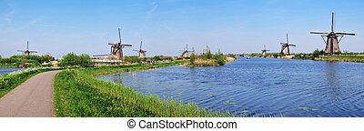 Vertical Panorama of canals and water mills - Holland....