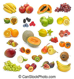 mixed fruits collection on white