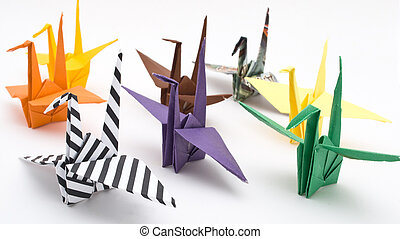 origami birds on a white background