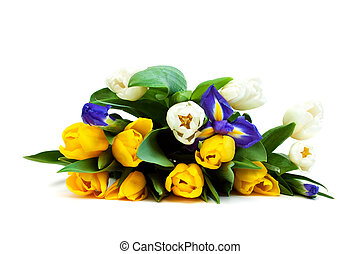 Bouquet. - Beautiful bouquet of colorful flowers on a white...